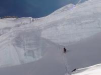 Hľadanie cesty  do C3 cez Horný ľadovec.